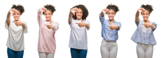 Collage of african american woman over isolated background smiling making frame with hands and fingers with happy face. Creativity and photography concept.