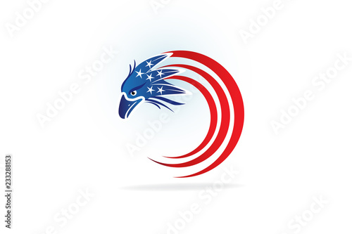 Independence Day Eagle Flying Usa American Flag Vector Logo Image