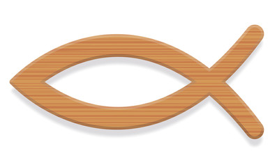 Jesus fish. Wooden textured Christian symbol consisting of two intersecting arcs. Also called ichthys or ichthus, the Greek word for fish. Illustration. Vector.
