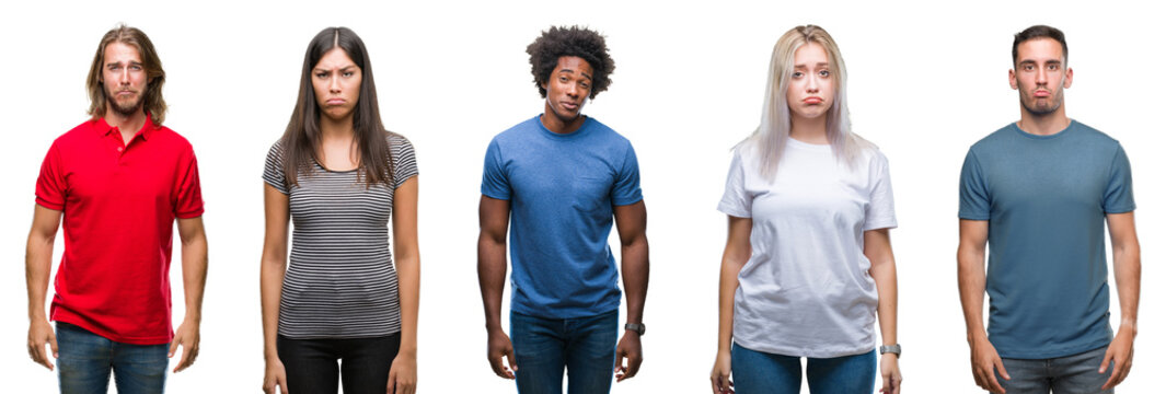 Composition of african american, hispanic and caucasian group of people over isolated white background depressed and worry for distress, crying angry and afraid. Sad expression.