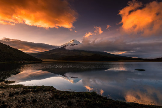 The vulcano Cotopaxi with snowy peak in the morning light