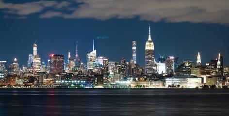 Night Landscape River Reflection New York City Skyline Empire State Building
