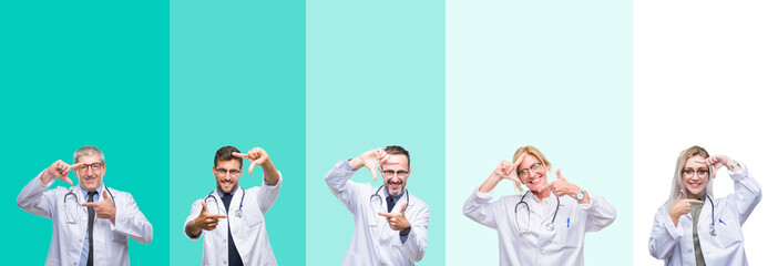 Collage of group of doctor people wearing stethoscope over colorful isolated background smiling making frame with hands and fingers with happy face. Creativity and photography concept.