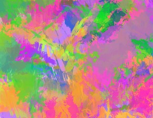 bold brushstrokes Abstract background in bright colors