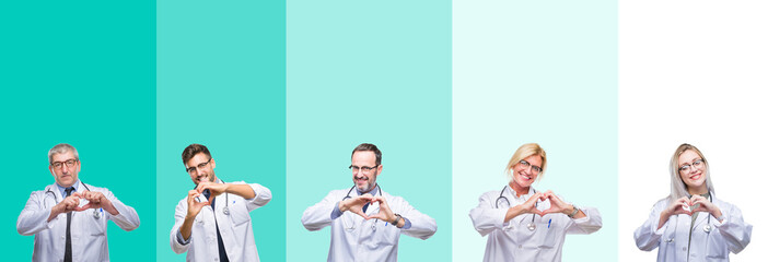 Collage of group of doctor people wearing stethoscope over colorful isolated background smiling in love showing heart symbol and shape with hands. Romantic concept.