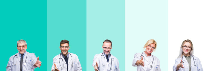 Collage of group of doctor people wearing stethoscope over colorful isolated background smiling friendly offering handshake as greeting and welcoming. Successful business.
