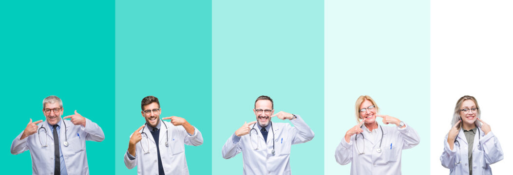 Collage of group of doctor people wearing stethoscope over colorful isolated background smiling confident showing and pointing with fingers teeth and mouth. Health concept.