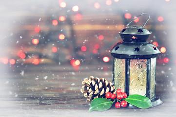 Christmas lantern and natural Christmas decoration