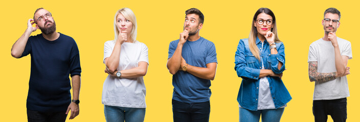 Collage of group people, women and men over colorful yellow isolated background with hand on chin thinking about question, pensive expression. Smiling with thoughtful face. Doubt concept.