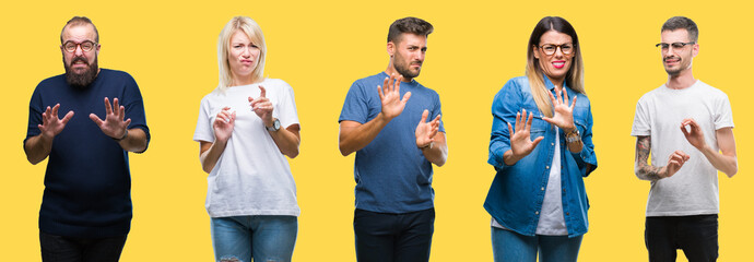 Collage of group people, women and men over colorful yellow isolated background disgusted expression, displeased and fearful doing disgust face because aversion reaction. With hands raised