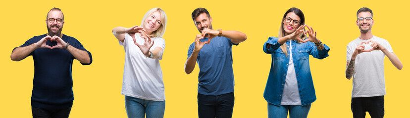 Collage of group people, women and men over colorful yellow isolated background smiling in love showing heart symbol and shape with hands. Romantic concept.