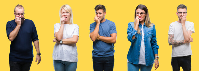 Collage of group people, women and men over colorful yellow isolated background looking stressed and nervous with hands on mouth biting nails. Anxiety problem.