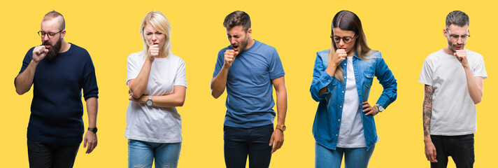 Collage of group people, women and men over colorful yellow isolated background feeling unwell and coughing as symptom for cold or bronchitis. Healthcare concept.