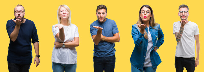 Collage of group people, women and men over colorful yellow isolated background looking at the camera blowing a kiss with hand on air being lovely and sexy. Love expression.