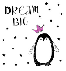 Dream big. Baby penguin with pink glitter crown.
