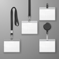 Vector Realistic Blank Office Graphic Id Card Set with Black Clasp, Holder Cllip and Lanyard Set Closeup Isolated. Design Template of Identification Card for Mockup. Identity Card Mock-up in Top view