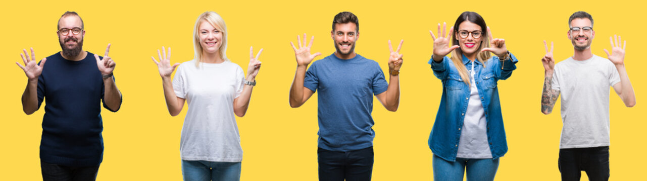 Collage of group people, women and men over colorful yellow isolated background showing and pointing up with fingers number seven while smiling confident and happy.