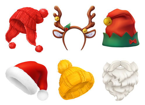 Christmas mask, Santa Claus hat, knitted hat. 3d realistic vector icon set