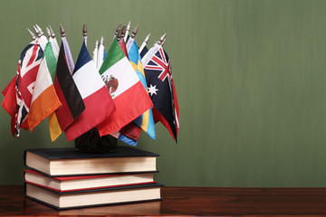 World flags on a pile of books in front of a green chalkboard
