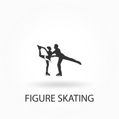isolated silhouette of figure skating couple , black and white drawing, white background
