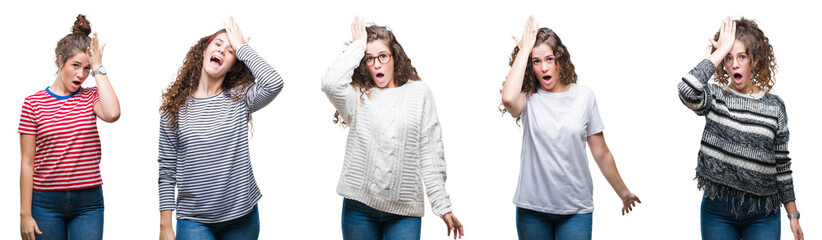 Collage of young brunette curly hair girl over isolated background surprised with hand on head for mistake, remember error. Forgot, bad memory concept.