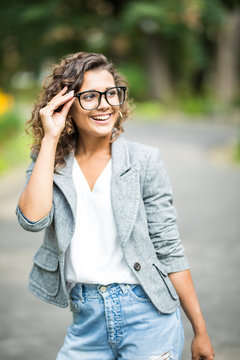 Young Woman with Glasses Out in the City. Beautiful young woman with glasses out in the city