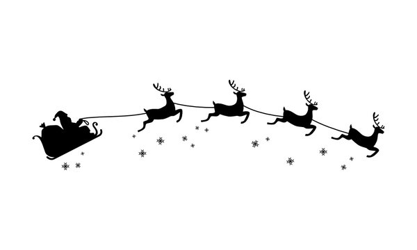 Santa Claus ride on sleigh drawn by flying reindeer silhouette Christmas illustration
