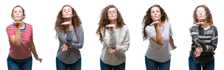 Collage of young brunette curly hair girl over isolated background looking at the camera blowing a kiss with hand on air being lovely and sexy. Love expression.