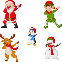 Dancing christmas cartoon santa claus, elf, reindeer, penguin and snowman