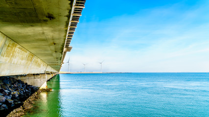 The concrete structure Storm Surge Barrier built in the province of Zeeland, in the Netherlands to prevent flood disasters as that in 1953