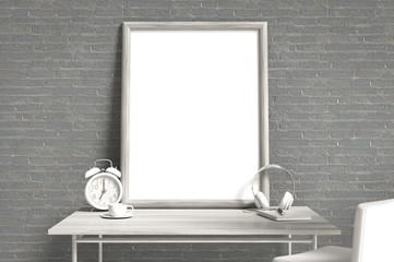 Empty photo frame mock-up on work desk
