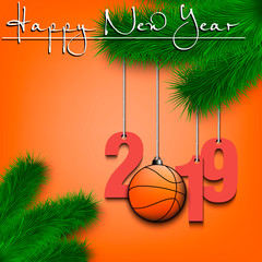 Basketball ball and 2019 on Christmas tree branch