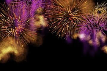 Fireworks celebration bright explosion of colorful bursts, unique background in horizontal format design
