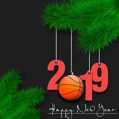Basketball ball and 2019 on Christmas tree branch