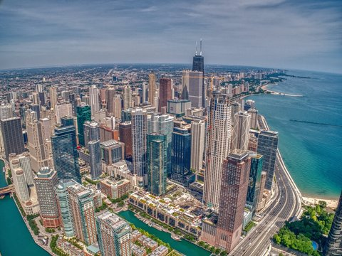 Aerial View of Chicago from above a City Park