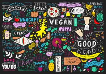 Fototapeta Chalkboard Kitchen Art, Blackboard Lettering Wall Art, Kitchen Chalkboard Sign. Cafe template design. Restaurant wall typography. obraz