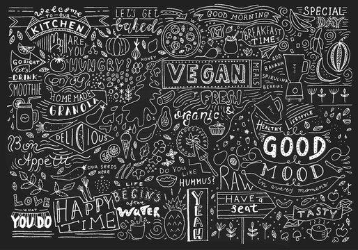 Chalkboard Kitchen Art, Blackboard Lettering Wall Art, Kitchen Chalkboard Sign. Cafe template design. Restaurant wall typography.