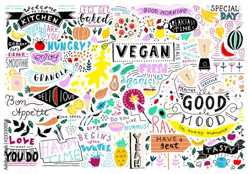 Kitchen doodle pattern, cafe template design  Sketchy food