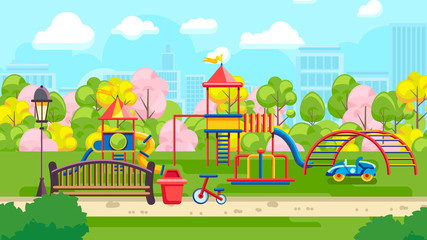 Vivid flat design of colorful park playground with bench and kids amusement constructions