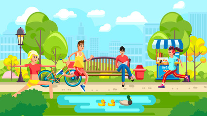 Colorful Vector Of People In City Park With Pond Doing Sports In Leisure