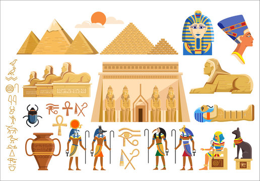 Vector set of various cultural symbols of Egyptian architecture and signs on white background