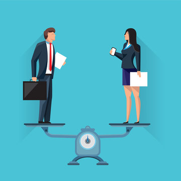 Colorful vector of modern man and woman in formal clothes standing on scales in balance