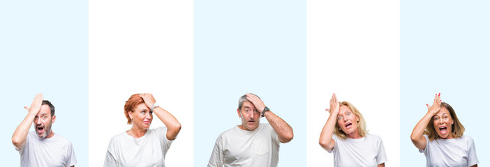 Collage of group middle age and senior people wearing white t-shirt over isolated background surprised with hand on head for mistake, remember error. Forgot, bad memory concept. Wall mural