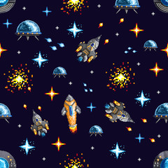 Pixel seamless background of flying spacecrafts with shooting elements on dark background