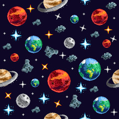Design of pixel seamless background with flying planets and stars on dark background