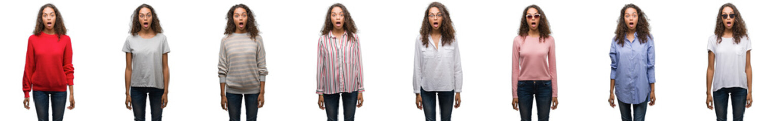 Composition of young brazilian woman isolated over white background afraid and shocked with surprise expression, fear and excited face.