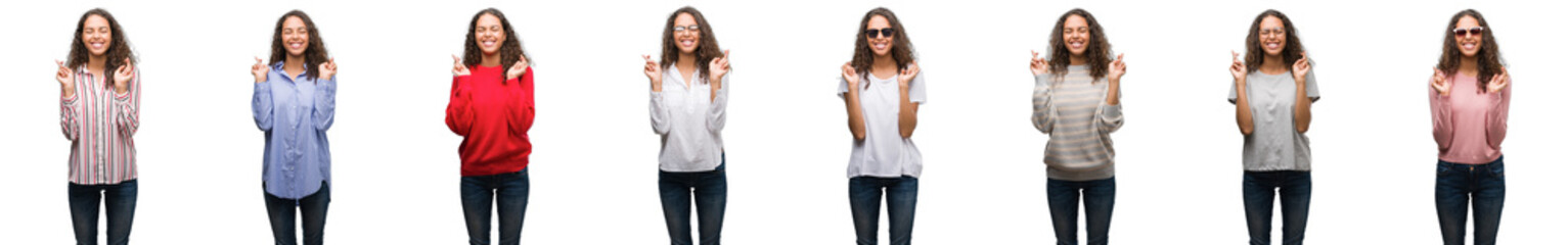 Composition of young brazilian woman isolated over white background smiling crossing fingers with hope and eyes closed. Luck and superstitious concept.