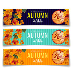 Set of colorful realistic coupons in different colors advertising autumn sale with 25 percent discount