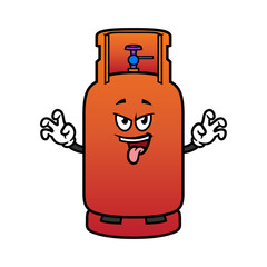 Cartoon Scaring Gas Cylinder Character
