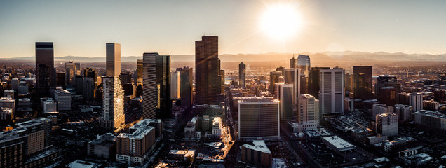 Aerial drone photo - City of Denver Colorado at sunset